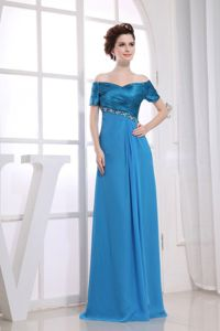 Off The Shoulder Ruched Blue Long Dresses for The Military Ball
