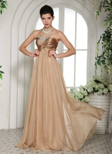 Champagne Military Ball Dress with Beaded Sweetheart New Style