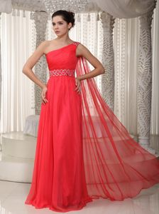 Cheap Beaded Red Military Ball Dress One Shoulder Watteau Train