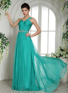 Turquoise One Shoulder Beaded Long Dresses for Military Ball