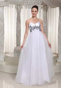 Satin Tulle Sweetheart White Military Ball Gowns with Appliques