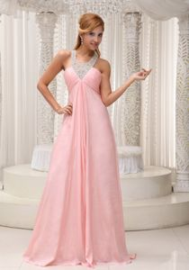 Baby Pink Designer Military Ball Dresses Beaded Crisscross Back