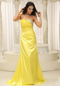 Fabulous Girly Brush Train Beaded Yellow Military Ball Dress 2013