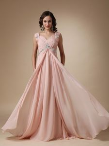 Chiffon Baby Pink Long Military Ball Gown with Straps and Beads