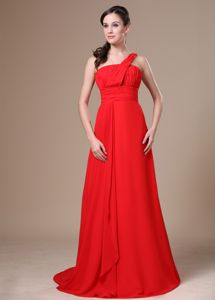Simple Style Chiffon One Shoulder Ruched Red Military Ball Attire