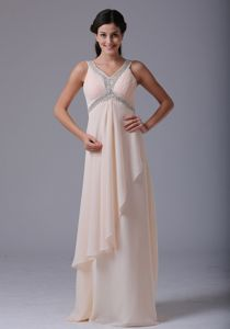 Baby Pink Long Evening Gowns for Military Ball Beaded V-neck
