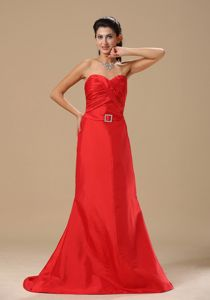 on Sale A-line Sweetheart Ruched Red Long Military Ball Gowns