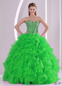 Best Spring Green Military Ball Attire with Ruffles and Rhinestones