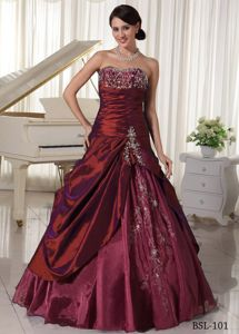 A-line Burgundy Evening Gowns for Military Ball with Appliques