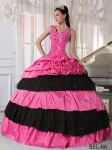 V-neck Rose Pink and Black Tiered Military Ball Gown with Flowers