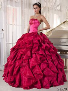 Strapless Ruffled Beaded Hot Pink and Red Military Ball Gowns
