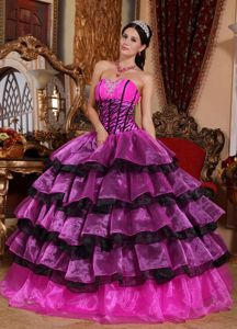 Plus Size Black and Hot Pink Military Ball Gowns Ruffled Layers