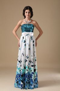 Sequin Printing Multi-color Long Military Ball Attire with Bowknot