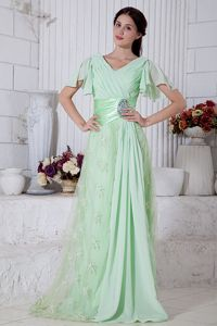 Apple Green Beaded Military Ball Gowns with Brush Train Chiffon