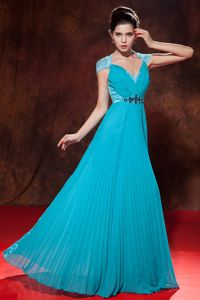 Teal V-neck Pleated Evening Gowns For Military Ball with Beading