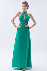 Turquoise Backless Gown For Military Ball with Beading in High-neck