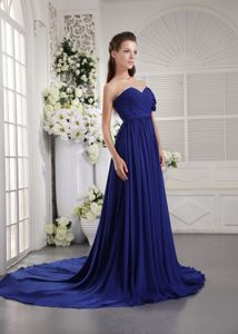 Chiffon Ruched Blue Military Ball Formal Dresses with Brush Train