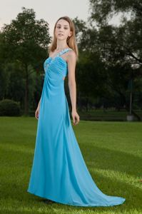 One Shoulder Blue Military Ball Dresses with Appliques and Ruches