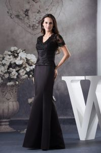 Appliqued Black Military Ball Dress with Short Sleeves and Cutout