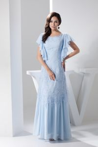Ruffled Scoop Military Ball Dresses with Short Sleeves in Light Blue