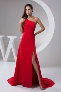 Red Formal Dresses For Military Ball with Brush Train and High Slit