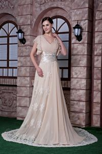 Champagne V-neck Chiffon and Lace Military Ball Attire with Beading