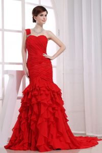 Red Mermaid Ruche and Ruffles Military Ball Attire with Watteau Train