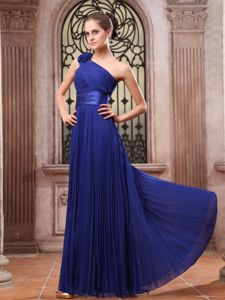 Breathtaking Pleat Ruche Dresses for Marine Corps Ball in Royal Blue