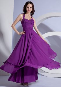 Purple Halter Top Chiffon Formal Dress for Military Ball with Ruches