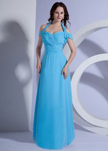 Plus Size Aqua Blue Halter Chiffon Formal Dresses with Ruches 2014