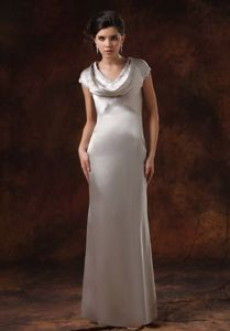 Silver Satin Floor-length Military Ball Formal Dresses with Cap Sleeves