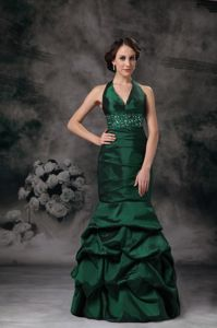 Dark Green Halter Beaded Military Ball Formal Dresses with Pick-ups