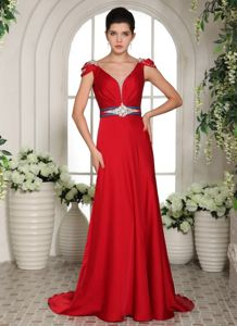 Red V-neck Beading Brush Train Military Ball Gowns with Cap Sleeves