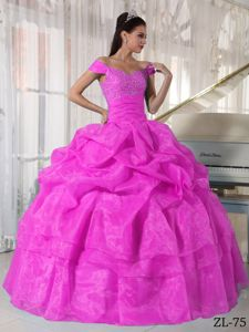 Pick-ups Off The Shoulder Beading Hot Pink Military Ball Gown