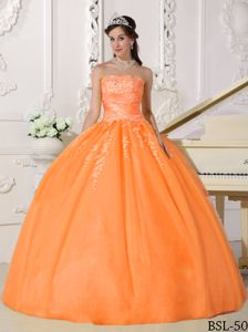 Orange Red Appliques Taffeta and Tulle Military Ball Gowns Cheap