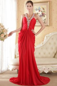 Red Ruched Halter Chapel Train Beaded Military Ball Gown Dress