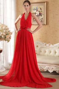 Hand Made Flowers Halter Red Ruched Chiffon Military Ball Gowns