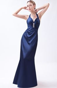 Navy Blue Halter Taffeta Beaded Formal Dresses for Military Ball
