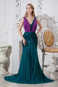 Mermaid V-neck Peacock Green and Purple Dress for Military Ball