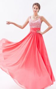 Beading Straps Coral Red Chiffon Floor-length Military Ball Gowns