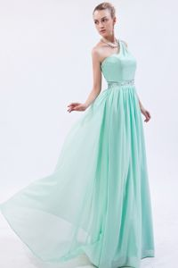Apple Green One Shoulder for Beading Sash Long Dresses for Military Ball