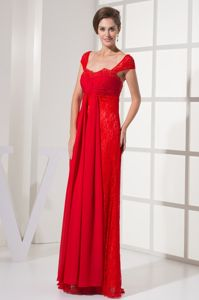 Column Cap Sleeves Square Evening Gowns for Military Ball in Red