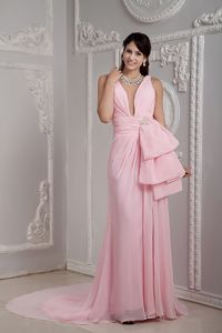 Plunging U-neck Ruched Pink Plus Size Formal Dress Court Train