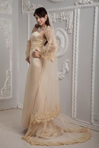 Classy Appliqued Champagne Formal Military Ball Gown Strapless