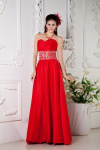 Red Beaded Sweetheart Empire Long Military Ball Gowns Cheap