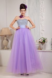 Sash Decorate Beaded Bust Lavender Tulle Military Ball Gowns