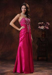 Beaded Sweetheart Ruched Hot Pink Military Ball Dresses Taffeta