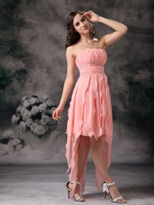 Cheap Strapless Beaded Peach Military Ball Dress Asymmetrical