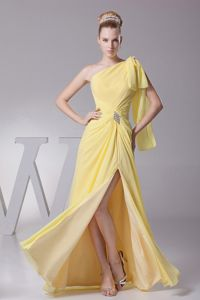 Yellow One Shoulder Long Dress for Military Ball with High Slit