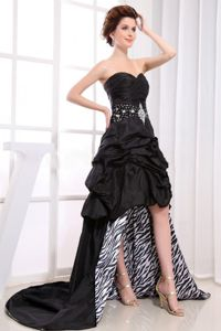 Zebra Black Sweetheart Beaded Military Ball Gown with Pick-ups